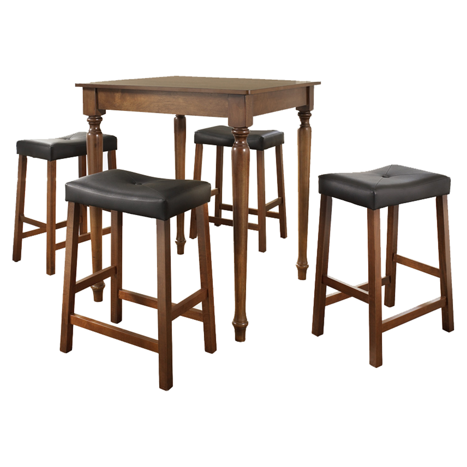 5-Piece Pub Dining Set - Turned Table Legs, Saddle Stools, Classic Cherry - CROS-KD520012CH
