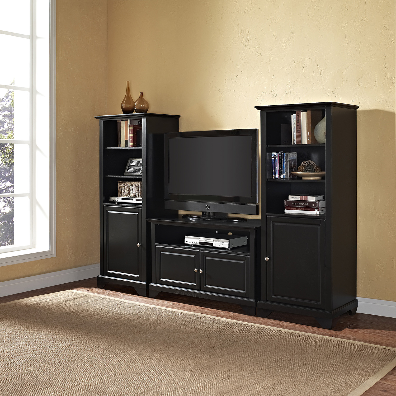 "LaFayette 42"" TV Stand and Two 60"" Audio Piers - Black - CROS-KF100007BBK"
