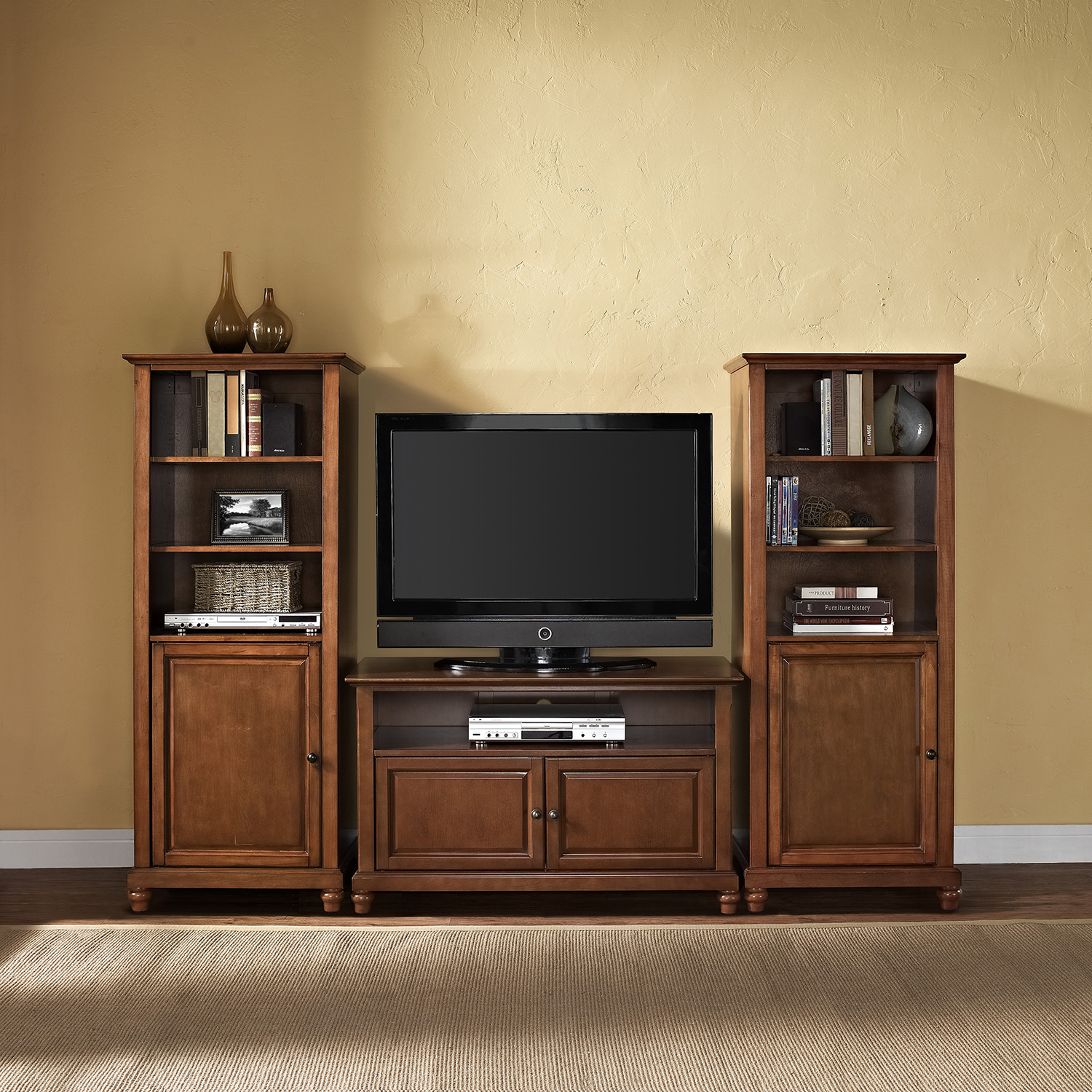 "Cambridge 42"" TV Stand and Two 60"" Audio Piers - Classic Cherry - CROS-KF100007DCH"