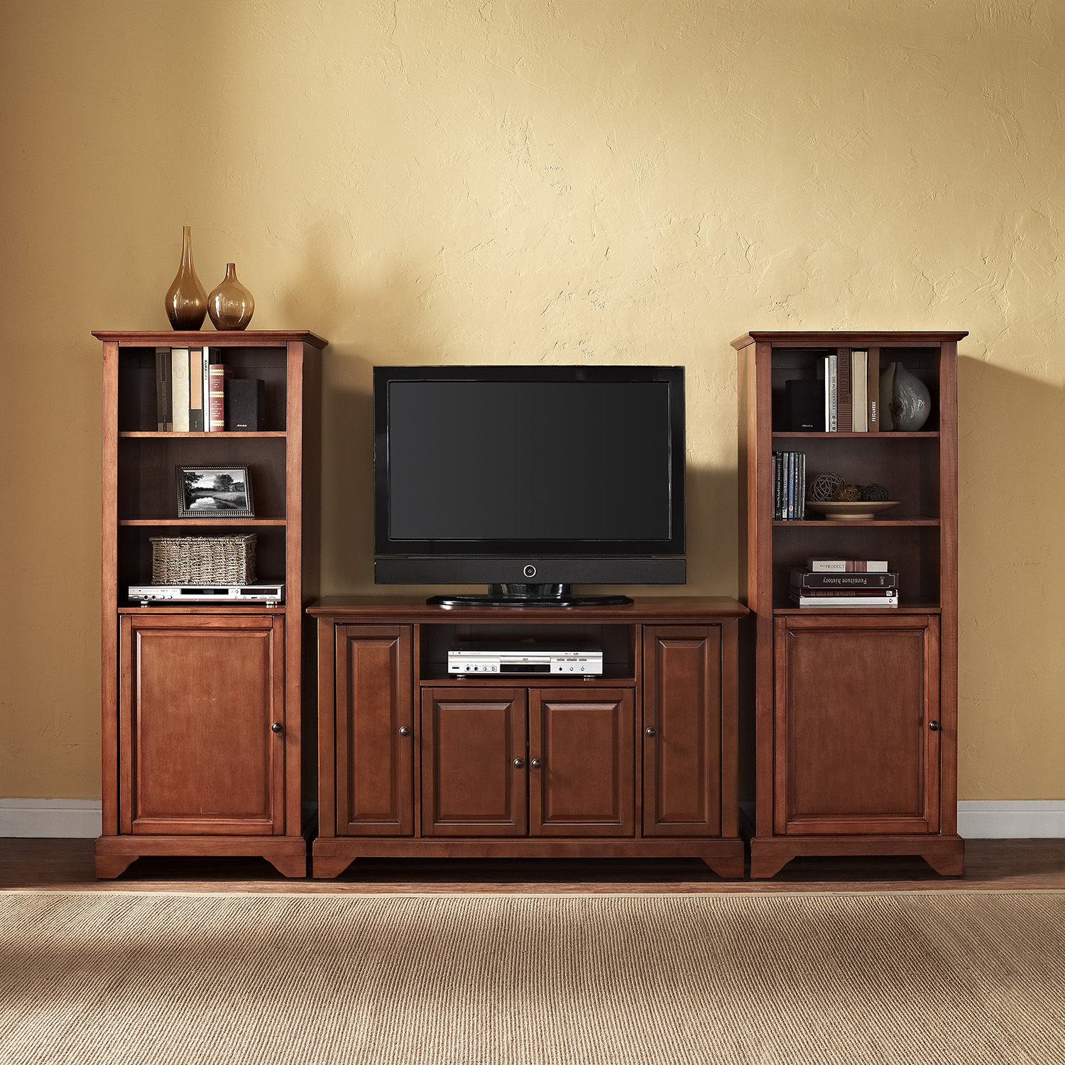 "LaFayette 48"" TV Stand and Two 60"" Audio Piers - Classic Cherry - CROS-KF100008BCH"