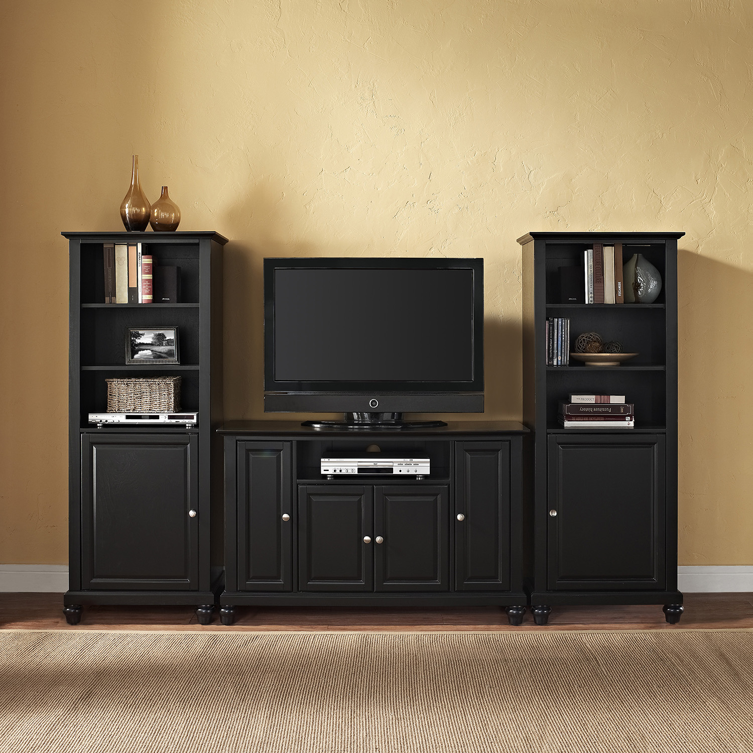 "Cambridge 48"" TV Stand and Two 60"" Audio Piers - Black - CROS-KF100008DBK"
