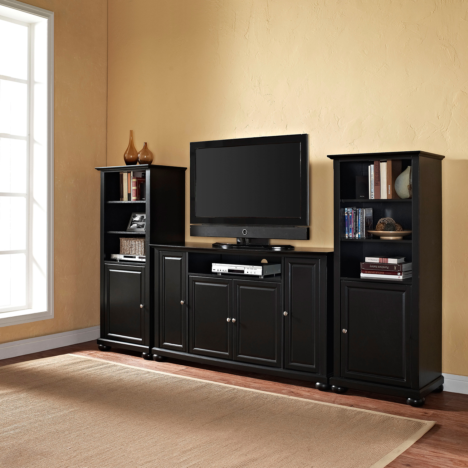 "Alexandria 60"" TV Stand and Two 60"" Audio Piers - Black - CROS-KF100009ABK"