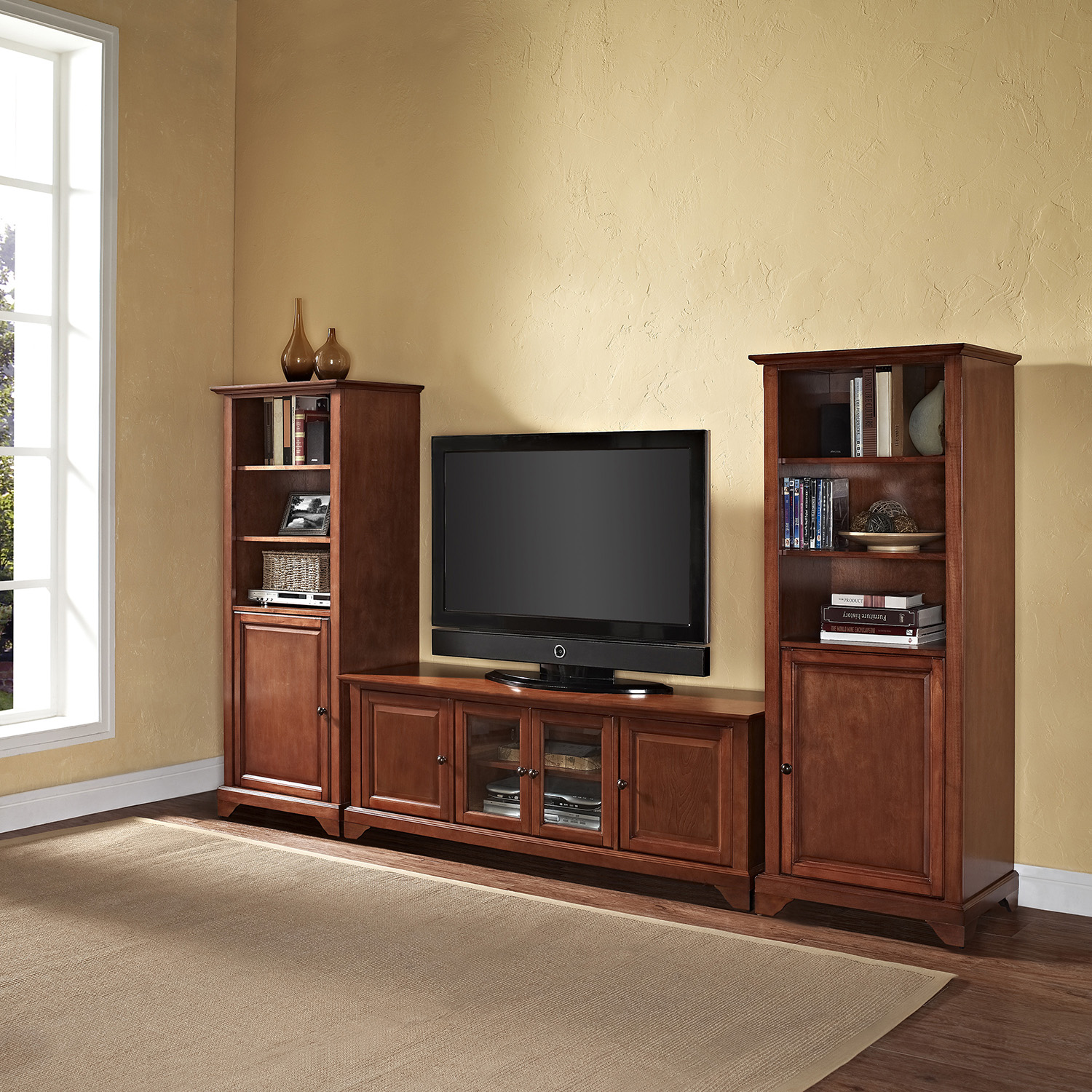 "LaFayette Low Profile TV Stand and Two 60"" Audio Piers - Classic Cherry - CROS-KF100010BCH"
