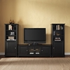 "Cambridge 60"" Low Profile TV Stand and Two 60"" Audio Piers - Black - CROS-KF100010DBK"