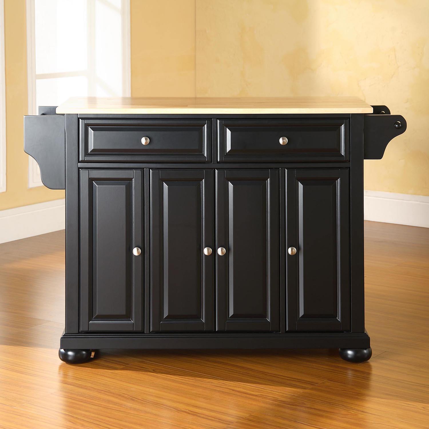 Alexandria Natural Wood Top Kitchen Island - Black - CROS-KF30001ABK
