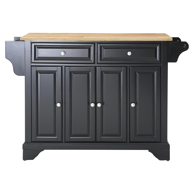 Kitchen Wood Top: LaFayette Natural Wood Top Kitchen Island - Black