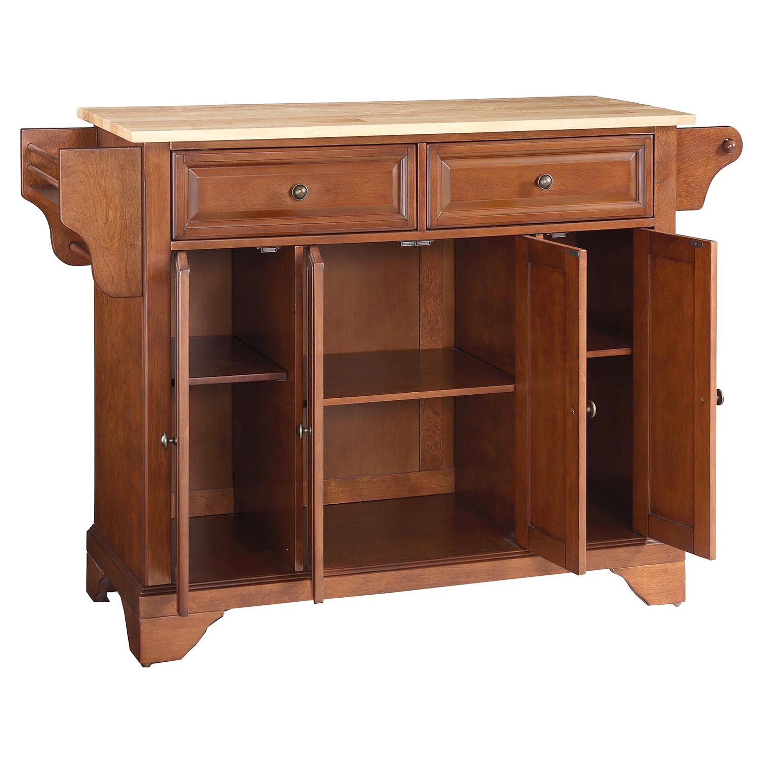 Lafayette Natural Wood Top Kitchen Island Classic Cherry Dcg Stores
