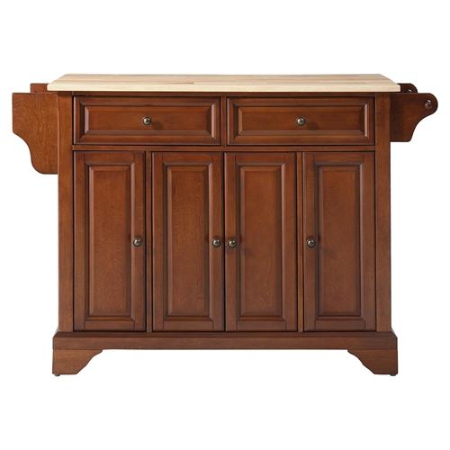 Lafayette Natural Wood Top Kitchen Island Classic Cherry