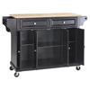 Natural Wood Top Kitchen Cart/Island - Casters, Black - CROS-KF30001EBK