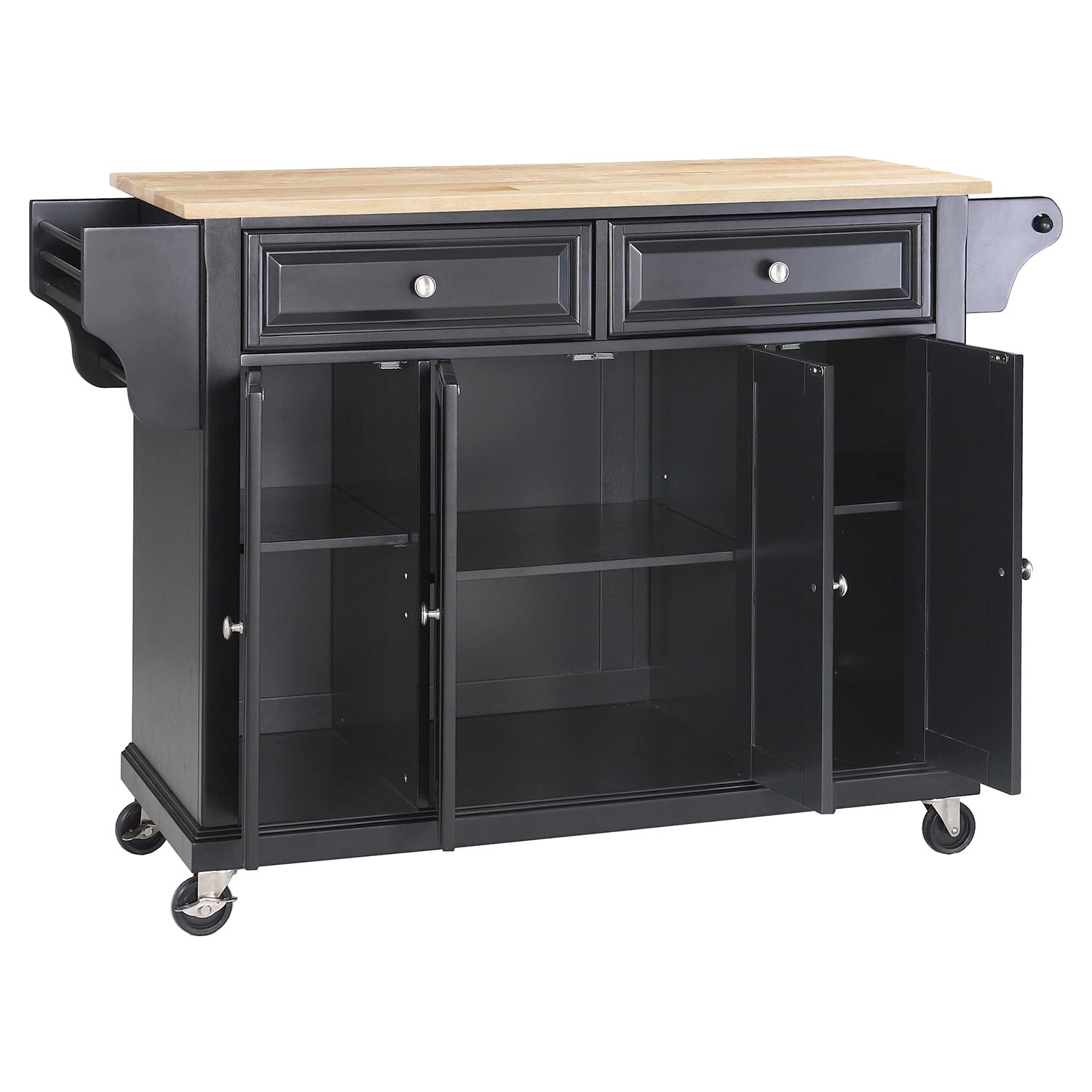 Natural Wood Top Kitchen Cart Island Casters Black Dcg Stores