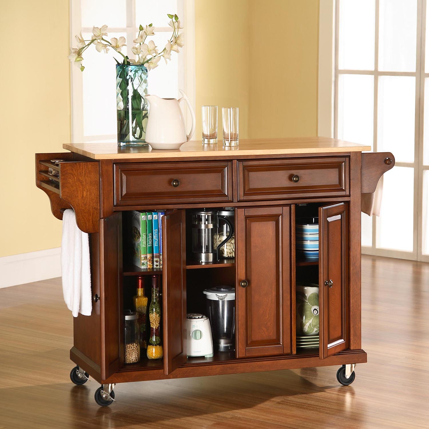 Natural Wood Top Kitchen Cart/Island - Casters, Classic Cherry - CROS-KF30001ECH