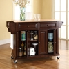 Natural Wood Top Kitchen Cart/Island - Casters, Vintage Mahogany - CROS-KF30001EMA