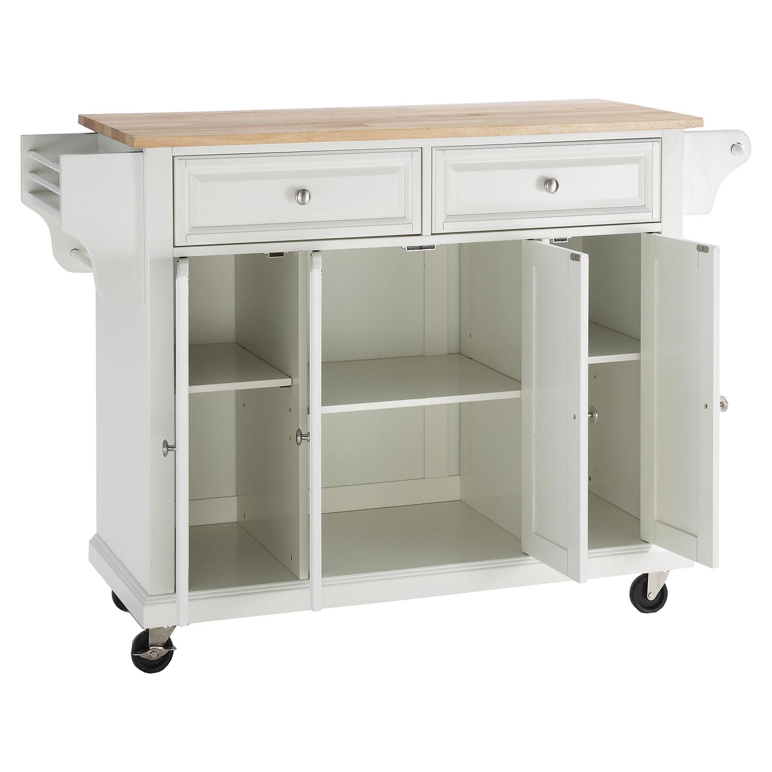 Natural Wood Top Kitchen Cart Island Casters White Dcg Stores