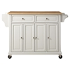 Natural Wood Top Kitchen Cart/Island - Casters, White - CROS-KF30001EWH