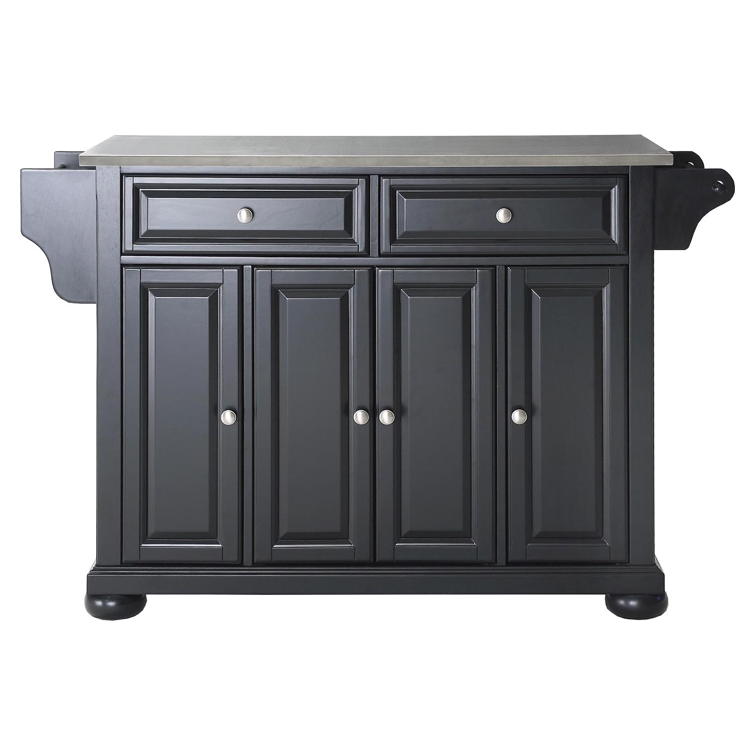 Alexandria Stainless Steel Top Kitchen Island  Black  DCG Stores