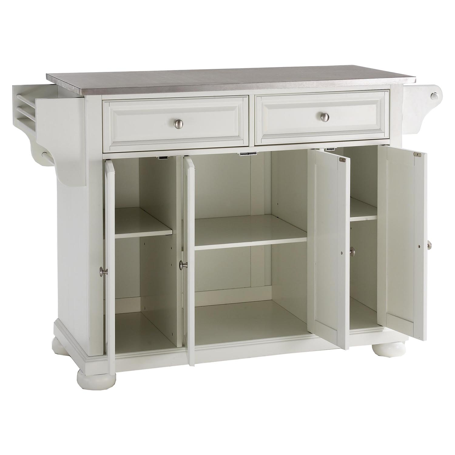Alexandria Stainless Steel Top Kitchen Island White Dcg Stores