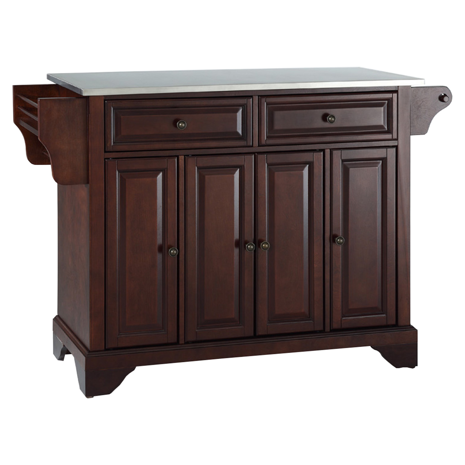 LaFayette Stainless Steel Top Kitchen Island - Vintage Mahogany - CROS-KF30002BMA