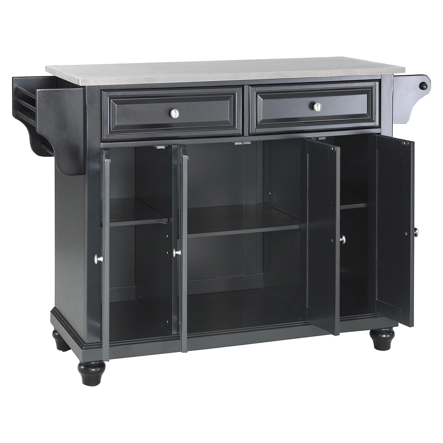 Cambridge Stainless Steel Top Kitchen Island Black Dcg Stores