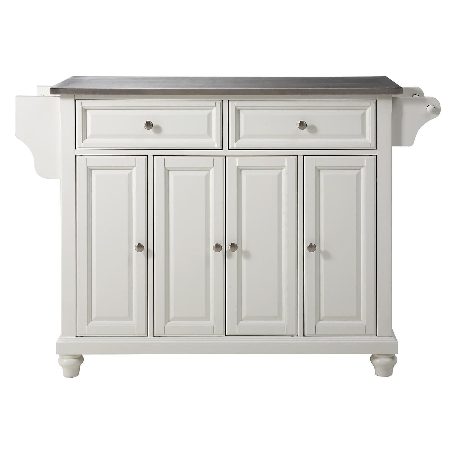 Kitchen Island With Stainless Steel Top: Cambridge Stainless Steel Top Kitchen Island - White