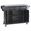 Stainless Steel Top Kitchen Cart/Island - Casters, Black - CROS-KF30002EBK