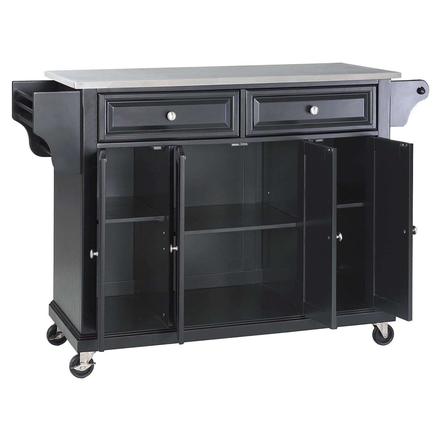 Stainless Steel Top Kitchen Cart Island  Casters, Black  DCG Stores