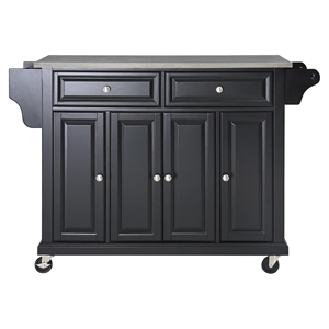 Stainless Steel Top Kitchen Cart/Island - Casters, Black