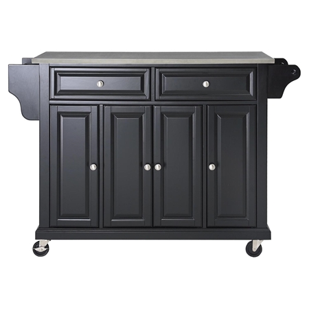 stainless steel top kitchen cart island casters black dcg stores. Black Bedroom Furniture Sets. Home Design Ideas