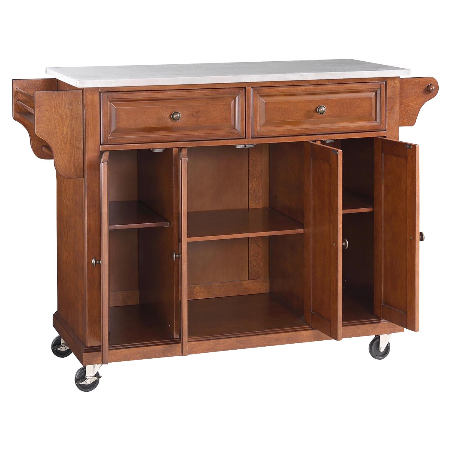 Stainless Steel Top Kitchen Cart Island Casters Classic Cherry Dcg Stores