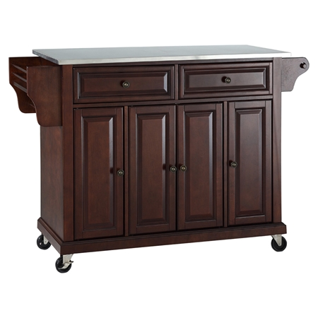 stainless steel top kitchen cart island casters vintage mahogany dcg stores. Black Bedroom Furniture Sets. Home Design Ideas