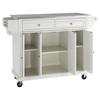 Stainless Steel Top Kitchen Cart/Island - Casters, White - CROS-KF30002EWH