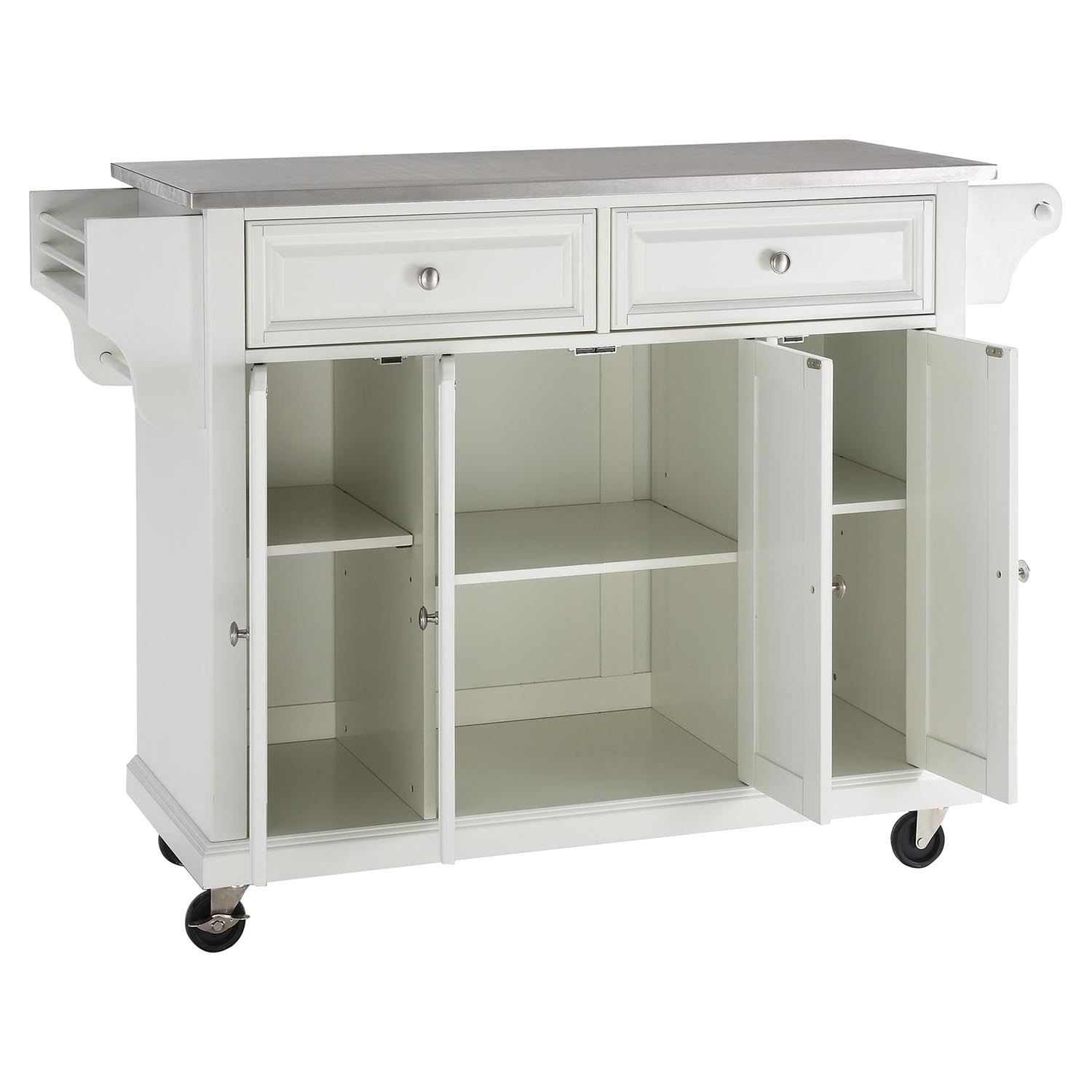 Stainless Steel Top Kitchen Cart Island Casters White