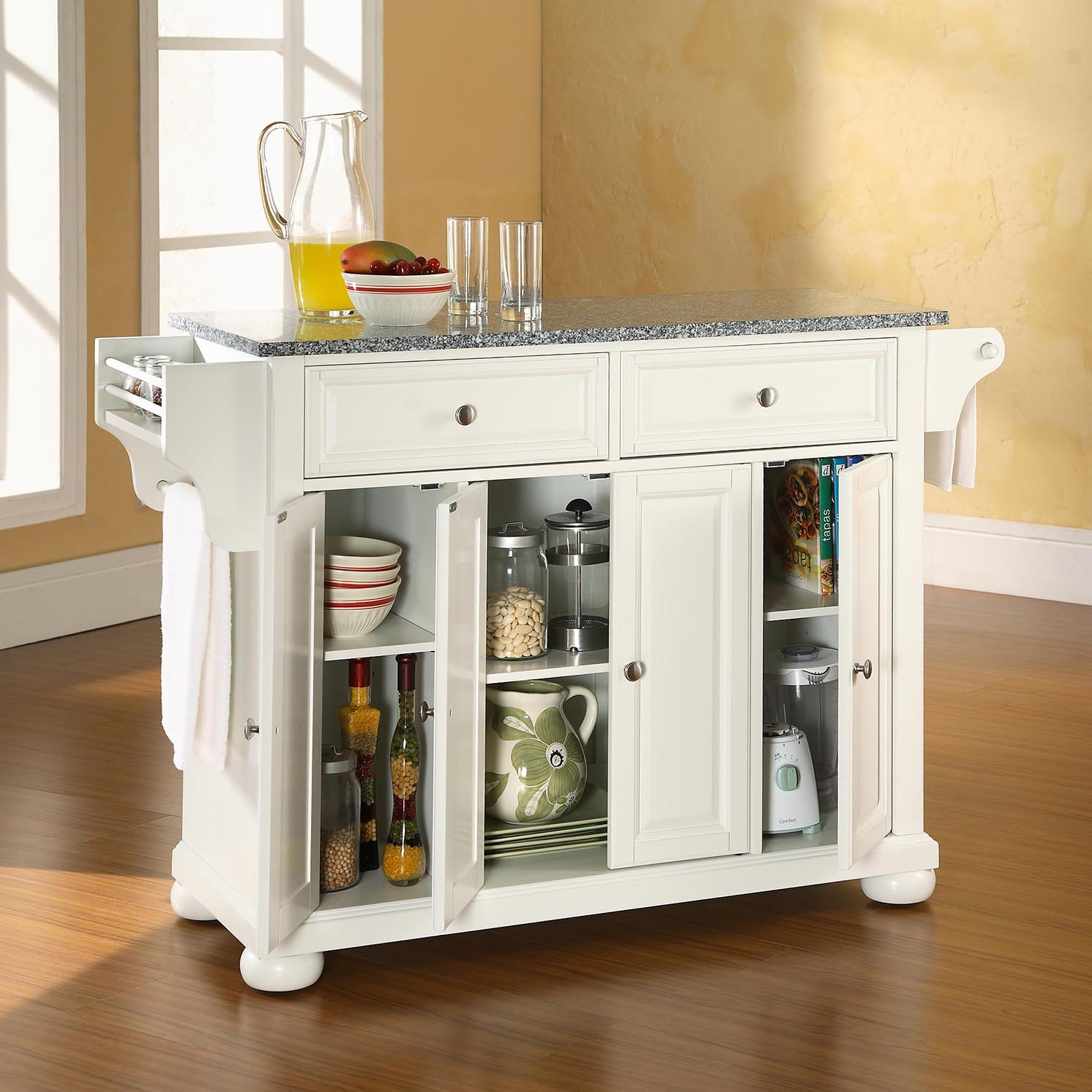 Alexandria Solid Granite Top Kitchen Island - White - CROS-KF30003AWH