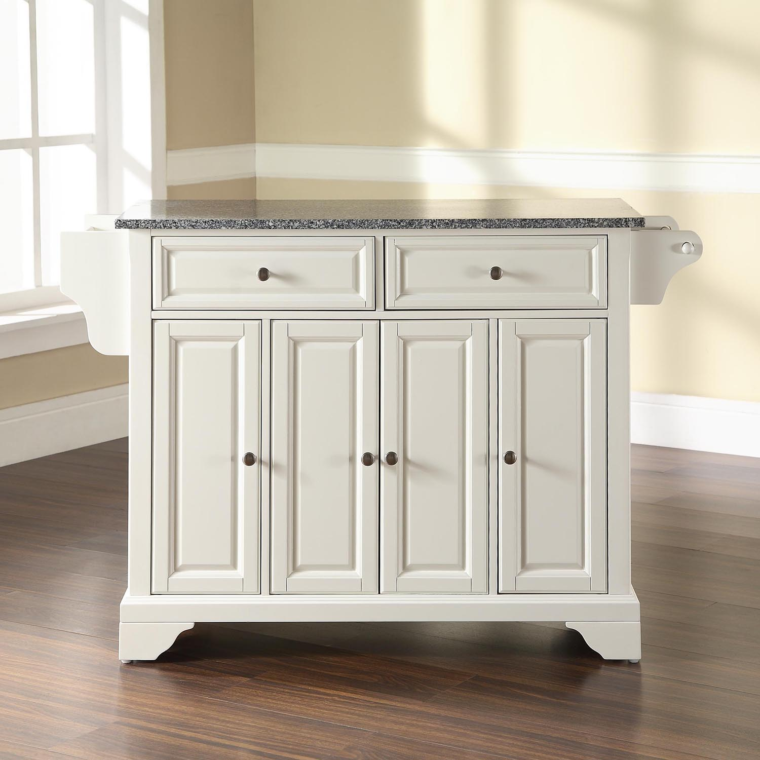 Kitchen Island With Granite Top: LaFayette Solid Granite Top Kitchen Island - White