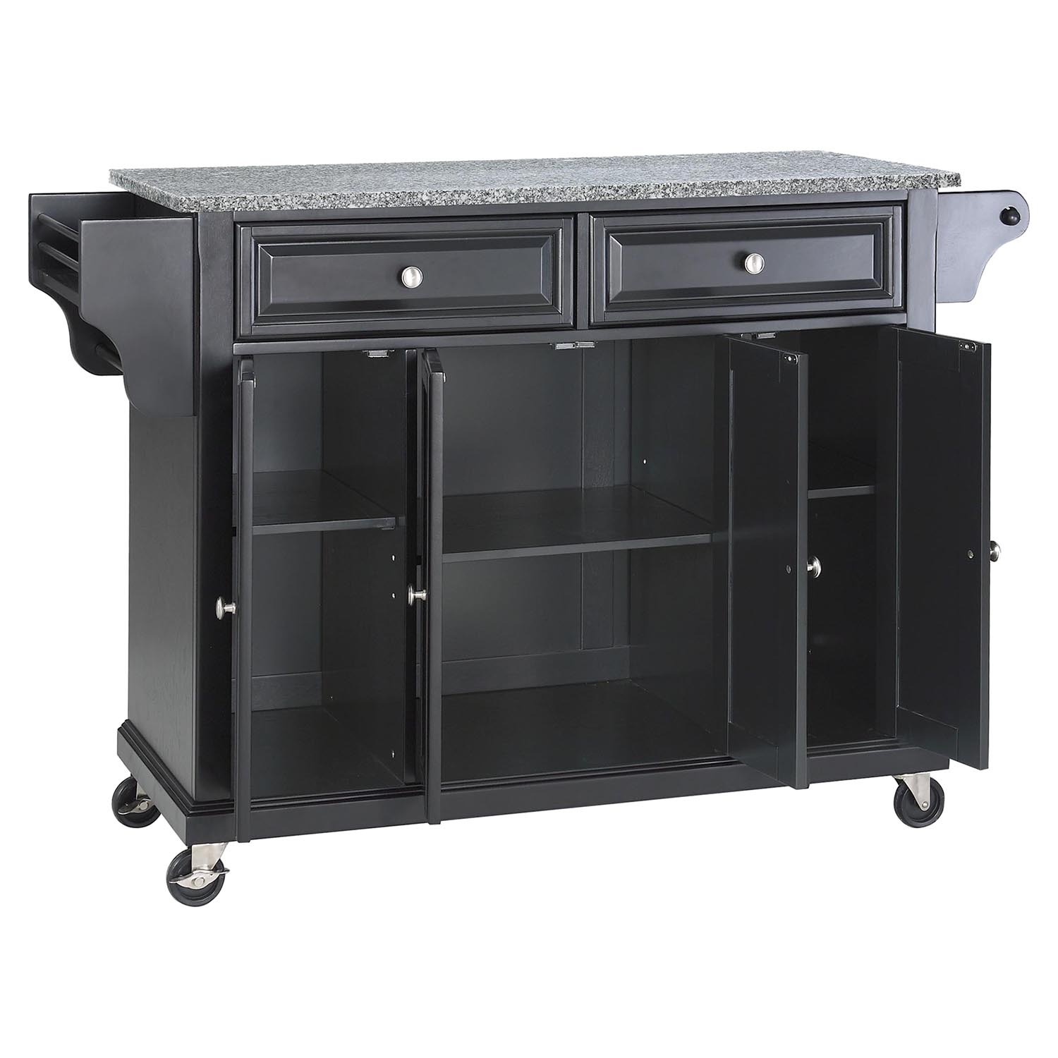 Solid Granite Top Kitchen Cart Island Casters Black
