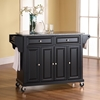 Solid Granite Top Kitchen Cart/Island - Casters, Black - CROS-KF30003EBK