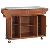 Solid Granite Top Kitchen Cart/Island - Casters, Classic Cherry