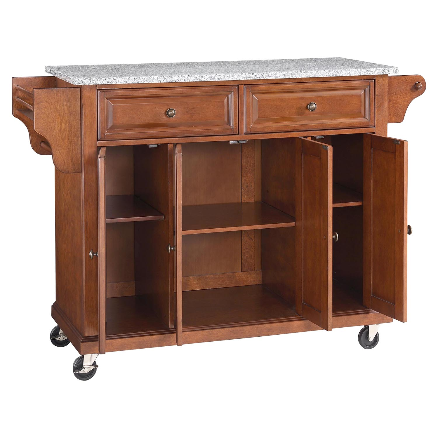 Solid Granite Top Kitchen Cart/Island - Casters, Classic Cherry - CROS-KF30003ECH