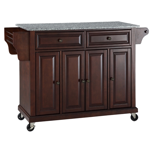 Solid Granite Top Kitchen Cart Island Casters Vintage Mahogany Dcg Stores
