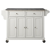 Solid Granite Top Kitchen Cart/Island - Casters, White - CROS-KF30003EWH