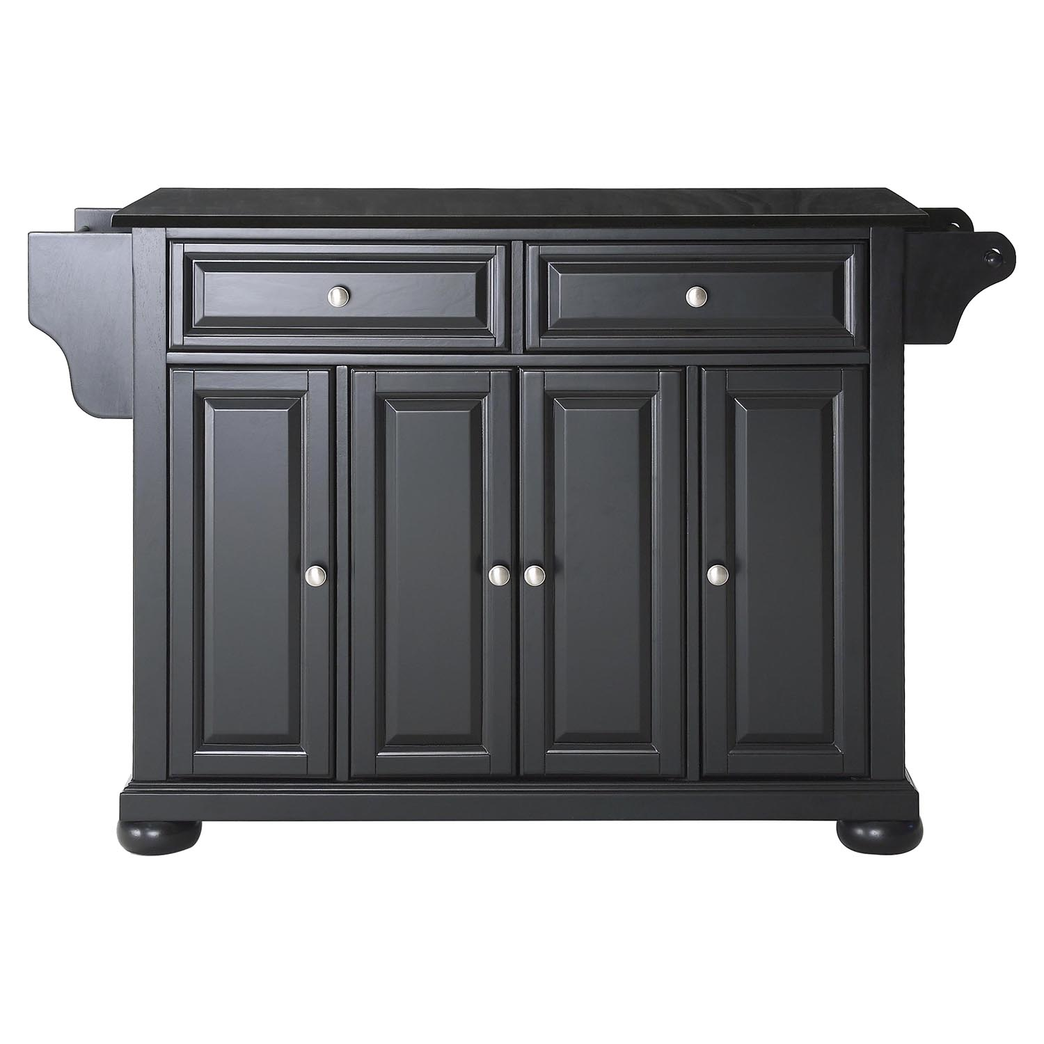 Alexandria Solid Black Granite Top Kitchen Island - Black - CROS-KF30004ABK