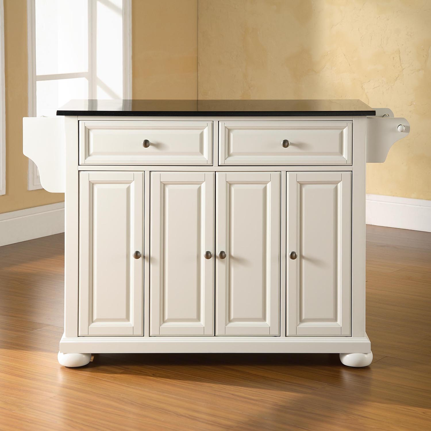Alexandria Solid Black Granite Top Kitchen Island White