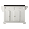 Alexandria Solid Black Granite Top Kitchen Island - White - CROS-KF30004AWH
