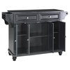 Cambridge Solid Black Granite Top Kitchen Island - Black - CROS-KF30004DBK