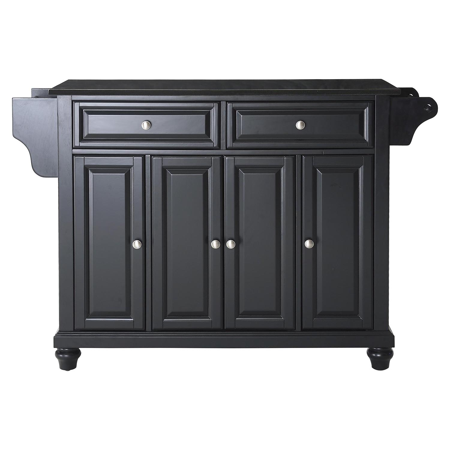 Cambridge solid black granite top kitchen island black for Black kitchen island with granite top