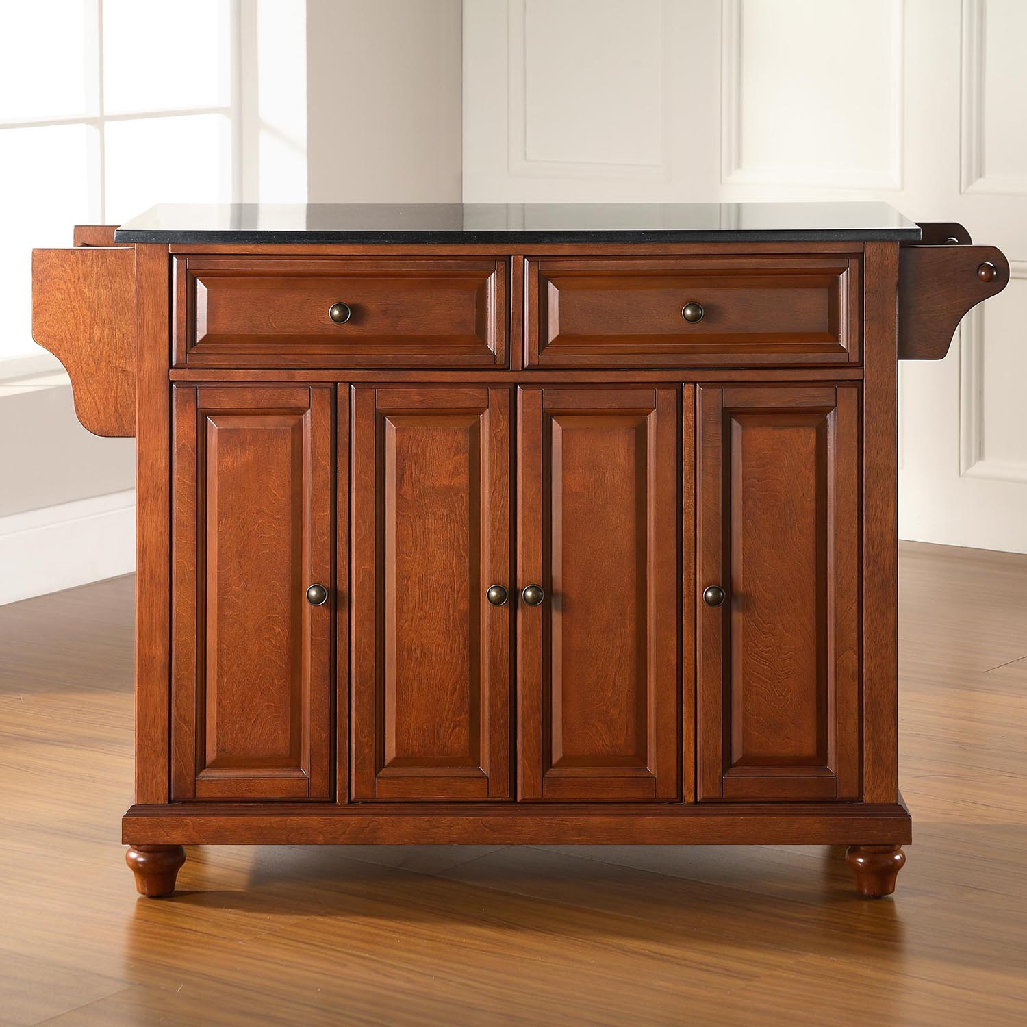 Cambridge Solid Black Granite Top Kitchen Island - Classic Cherry - CROS-KF30004DCH