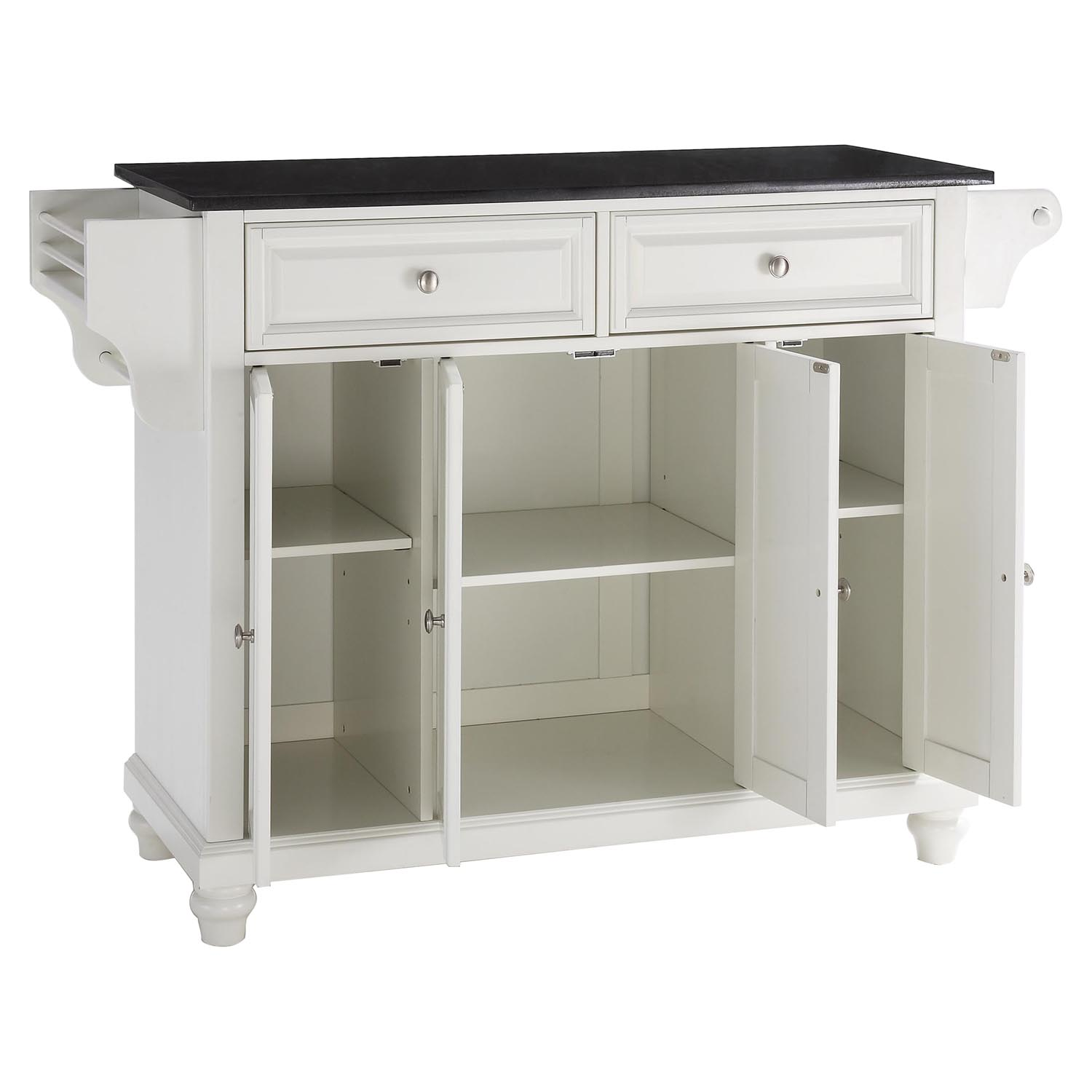 Cambridge Solid Black Granite Top Kitchen Island White