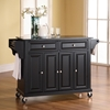Solid Black Granite Top Kitchen Cart/Island - Casters, Black - CROS-KF30004EBK