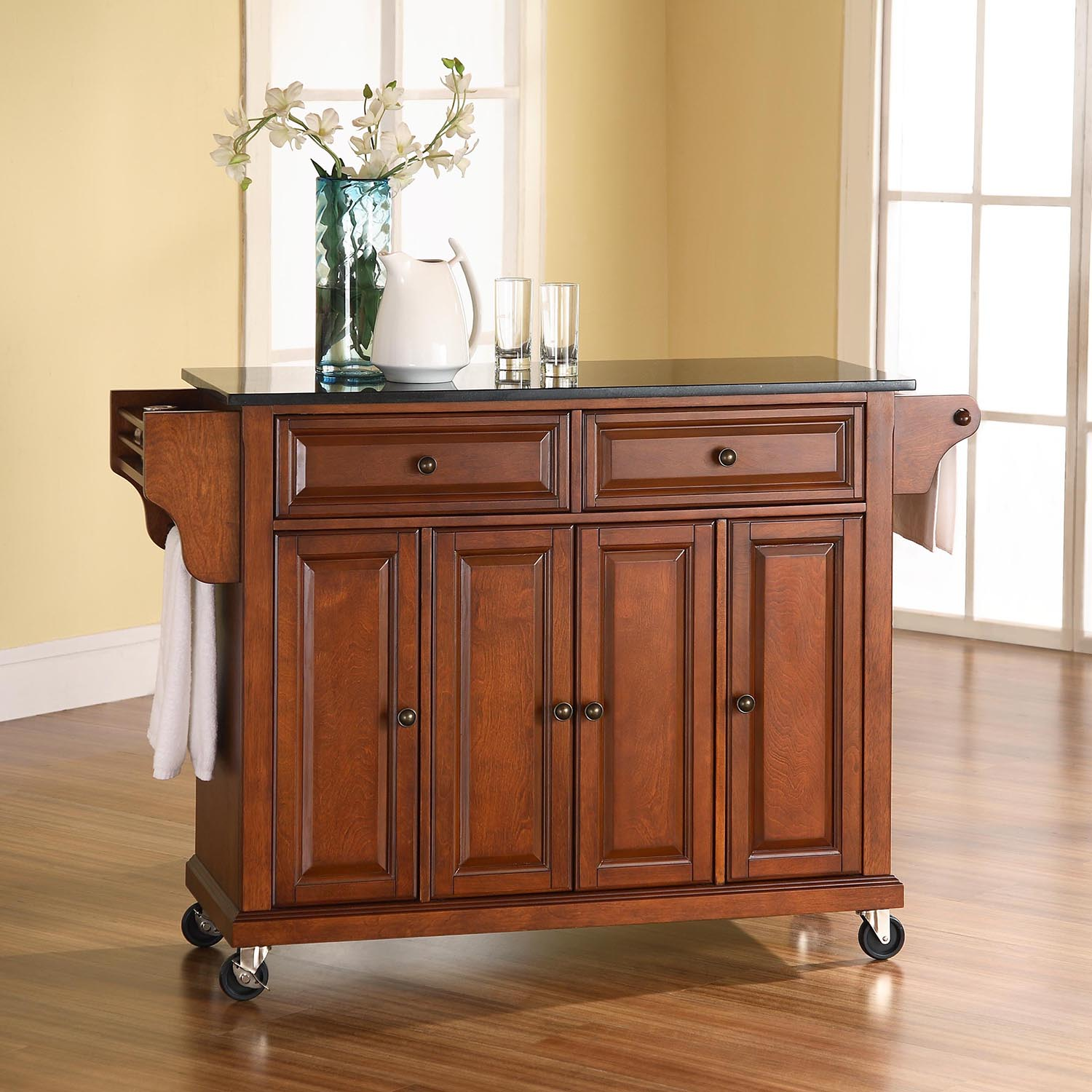 Solid Black Granite Top Kitchen Cart Island Casters