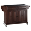 Solid Black Granite Top Kitchen Cart/Island - Casters, Vintage Mahogany - CROS-KF30004EMA