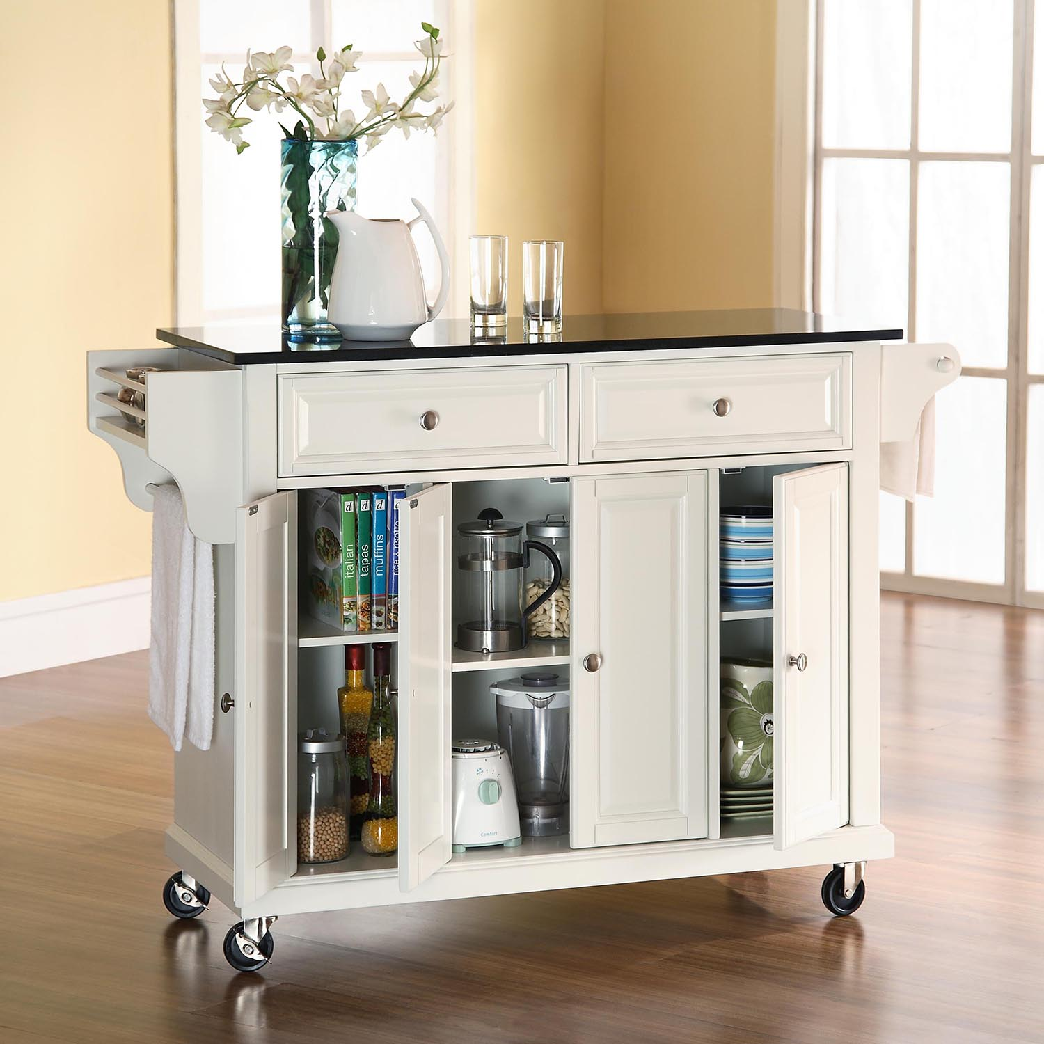 Solid Black Granite Top Kitchen Cart/Island - Casters, White - CROS-KF30004EWH